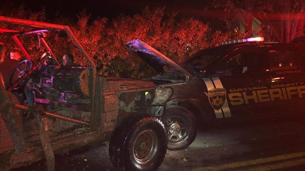 Suspect involved in domestic incident crashes into Cayuga County Sheriff's Office vehicle