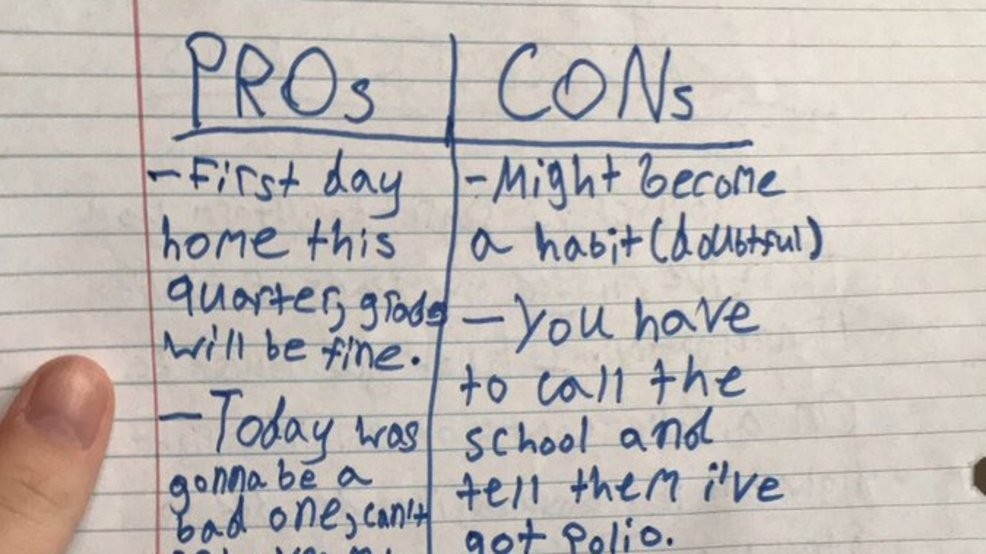 Kid pens hilarious pros and cons list about staying home