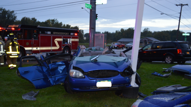 Crews tear roof off car to rescue driver in Spencerport